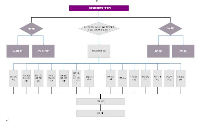 诊改办公室:  教育教学质量管理处             (二)组织结构运行